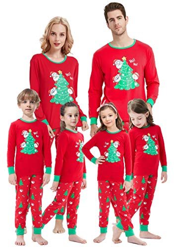 Matching Family Pajamas Christmas Tree PJs Mum and Me Santa Claus Sleepwear for Boys Girls 2 Pieces Pants Set Men XL