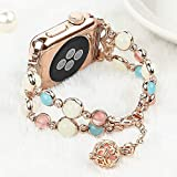 Light Compatible with Apple Watch Band, Elastic Beaded Night Luminous Pearl Beautiful Women Girl Band Strap Compatible with iWatch Series4 Series3 Series2 S1 (Rose Gold/Gold Aluminum, 42mm/44mm)