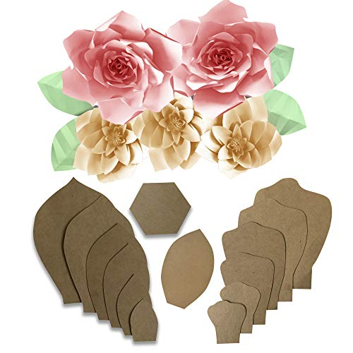 Daisy and Gardenia Paper Flower Kit Template for WallFlower for Backdrop with Leaf
