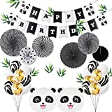 Kids Birthday Party Decoration - Panda Party Supplies, Party Decoration Set including a Panda Happy Birthday Banner, 12 Letax Balloons, 6 Confetti Balloons, 2 Panda Shaped Balloons, 7 Paper Fans in Pandas' Color, 12 Bamboo Leaves, Perfect for Kids Birthday Party