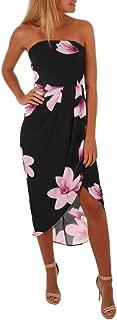 Swyss Womens Off The Shoulder Backless Floral Print Split Sundress Boho Maxi Dress,Summer Beach Dress
