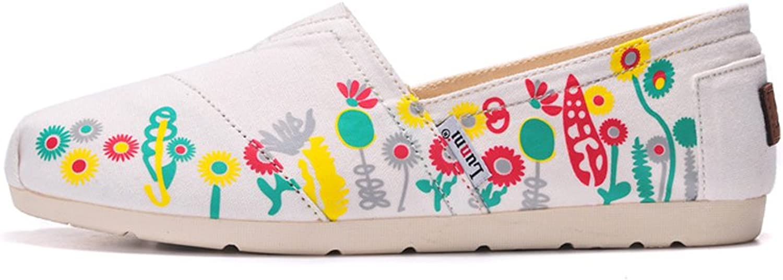 Lunni Women's Floral Canvas shoes White