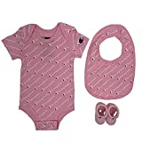 Champion Baby Infant 3-Piece Box Set Includes Body Suit, bib and Booties, All Over Script-Pink 682, 0-6M