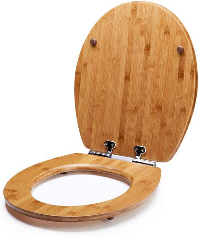 WC-Sitze V U O-Form Kompatibel Toilettendeckel Mit Verstellbarem Scharnier Mit Weichem Verschluss Quick ReleaseTop-montierter Bambus-WC-Deckel Toilettensitze,WoodFarbe-37  45.3CM