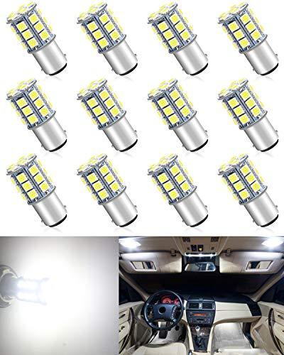 ALOPEE Paquet de 12 Ampoule à Del Blanche BA15D 1142 12V CC, Remplacement de Voiture 5050 27 SMD pour Ampoules de Rechange pour Feux de Clignotants Intérieurs pour Véhicules de Camping-Car