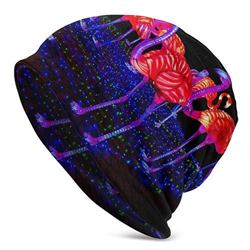 BGDFN Famingo Light Knit Hat Warm Beanie Sombreros Elásticos Suaves con puños de Calavera Gorro Diario para Unisex Negro