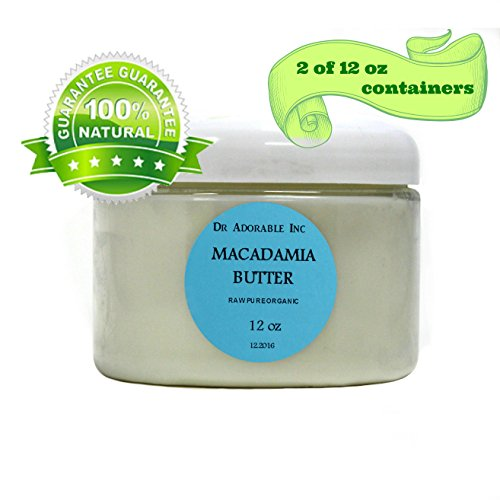 Macadamia Butter Ultra Refined 100% Pure Organic by Dr.Adorable 24 Oz (2x12 oz Container)