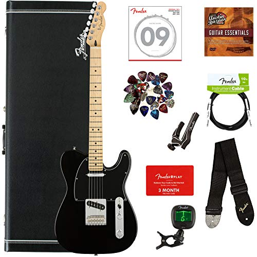 Fender Player Jaguar, Pau Ferro - Tidepool Bundle with Hard Case, Cable, Tuner, Strap, Strings, Picks, Capo, Fender Play Online Lessons, and Austin Bazaar Instructional DVD