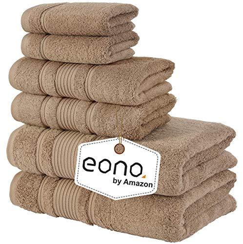 Eono by Amazon, Toallas de SPA y Hotel Juego de Toallas de 6 Piezas, 2 Toallas de baño, 2 Toallas de Mano y 2 toallitas(Beige)