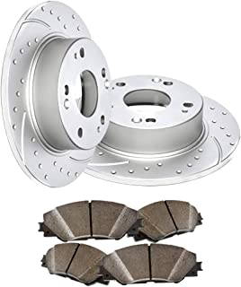 Rear Premium Geomet rust protected Drilled and Slotted Brake Rotors and severe Duty Metallic Pads MAXE5524MDS | Fits: Q7 Cayenne Touareg