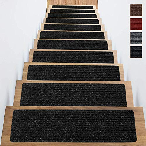Stair Treads Carpet Anti Non Slip Skid Indoor Set of 16 Pack 8x30 Inch Dark Red Self Adhesive Rugs