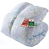 アイリスプラザ 羽毛布団 シングル ホワイトダックダウン85% 日本製 CILレッドラベル ボリュームたっぷり アレルゲン低減 国内洗浄 抗菌防臭 パワーアップ加工 敬老の日 やわらか 花柄 ブルー