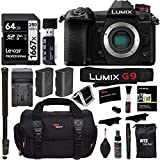 Panasonic Lumix G9 Mirrorless Camera Body 20.3 MP G9KBODY, Lexar 64GB High Speed SD Card U3, Monopod, Spare Battery, Battery Charger, Ritz Gear Cleaning Kit and Accessory Bundle Title