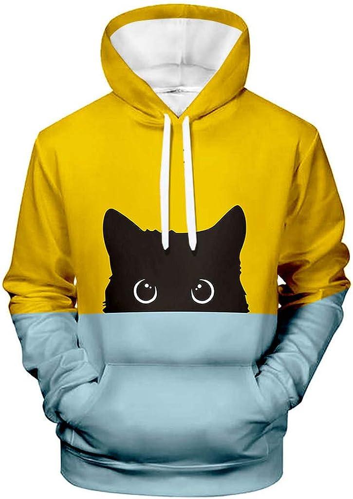 LATINDAY ◆ Unisex Cool Cat Printed Full Zip Hoodies Jacket Sweatshirts with Big Pockets