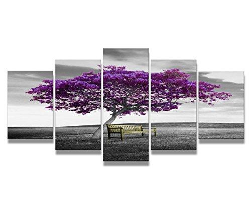 bestpricepictures 200 x 100 cm Bild auf Leinwand lila Baum 6339-SCT deutsche Marke und Lager - Die Bilder/das Wandbild/der Kunstdruck ist fertig gerahmt