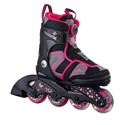K2 Kinder Inline Skates Charm X Boa - Schwarz-Grau-Pink - S (29-34 EU; 10-1 UK; 11-2 US) - 30A0201.1.1.S