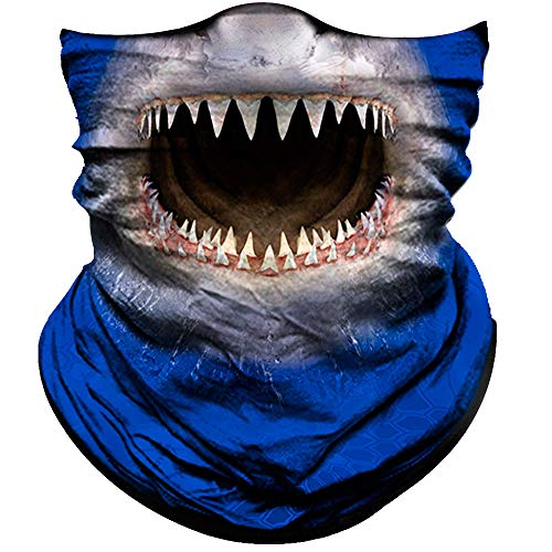 Obacle Animal Half Face Mask Sun Dust Wind Protection Durable Breathable Seamless Face Mask for Men Women, Lightweight Thin Neck Gaiter (Shark Open Mouth Blue)