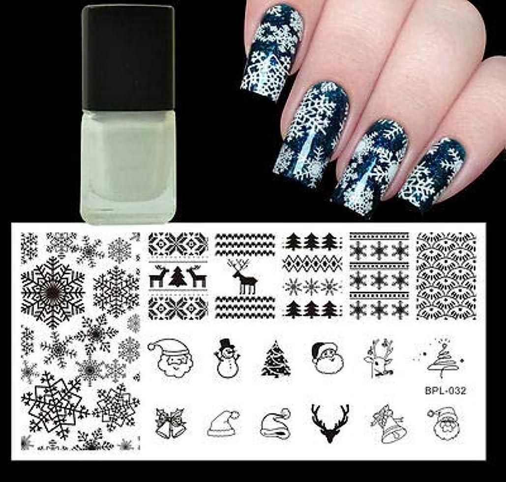 ポルティコパラナ川新年FidgetGear クリスマスクリスマススノーフレーク雪だるまネイルスタンプイメージプレート&ホワイトスタンピングポーランド語
