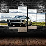 IKDBMUE Cuadros Decoracion Salon Modernos 5 Piezas Lienzo Grandes murales Pared hogar Pasillo Decor Arte Pared Cuadro Classic 1969 Camaro Luxury Cars HD Impresión Foto Innovador Regalo