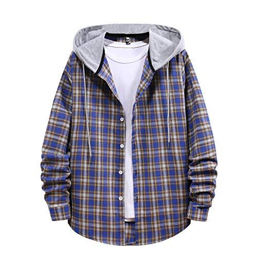 Sweats à Capuche Homme Veste à Carreaux pour Hommes Manteau d'hiver Veste Chemise à Manches Longues Vêtements d'extérieur Blouson