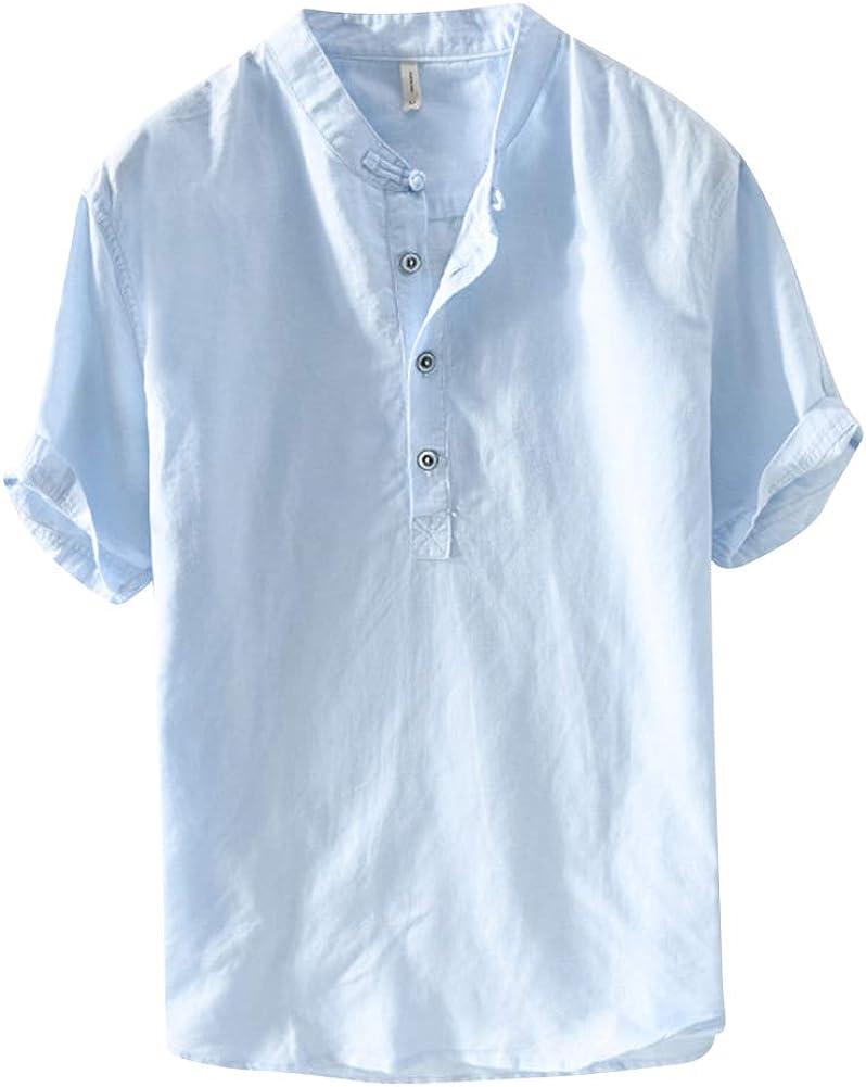 Camisas,Hombre Manga Corta Botón Color Sólido Lino Camiseta Tops