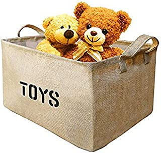 "Youdepot Large Jute Storage Bin 17 x 13 x 10"" large enough for Toy Storage - Storage Basket for organizing Baby Toys, Kids..."