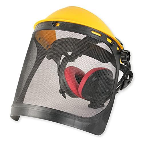 Gesichtsschutz mit Gitter-Visier aus Stahl mit Gehörschutz