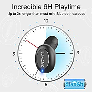 EchoAMZ Mini Bluetooth Earpiece In-Ear Smallest Wireless Bluetooth Earbud Small Car Bluetooth Headset with Mic (2 Magnetic Chargers, 6 Hours Playtime, 1 Piece) (Black)