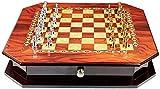 HEZHANG Juego de ajedrez con tablero de ajedrez grande, caja de ajedrez portátil para juego de aprendizaje