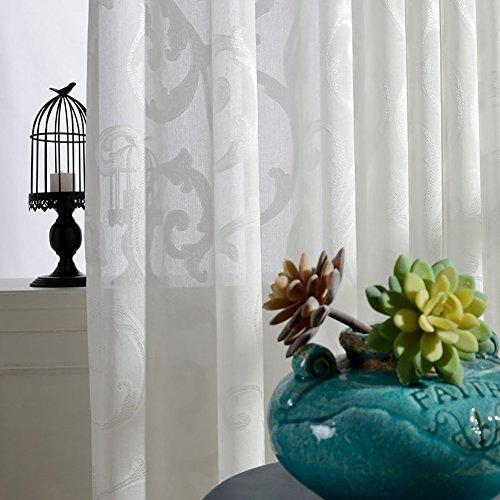 Rideaux et drapes - Blanc - Brodé - Pour fenêtres - Produit fini - Œillets - Pour le salon - Blanc - 300 x 270 cm