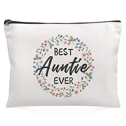 Cosmetic Bags for Women - Best Auntie Ever - Stash Box Funny Makeup Bag for Best Sister Friends Colleague Miss Fans Classmate Bestie Nephew Aunt Festival Birthday Surprise Gift