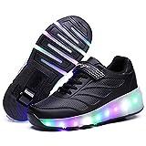 Charmstep Unisex Niños Zapatillas con Ruedas LED Luz Parpadea Deportes al Aire Libre Skateboard Sneaker Automáticamente Retráctiles Zapatos de Roller Niño/Niña,Black1,40EU