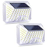 IREGRO Luce Solare Esterno, 2 Pezzi 90 LED Lampada Solare Grandangolare da 180° con Sensore di Movimento, 3 Modalità Opzionali, Applique Solare Impermeabile IP65, per Giardino, Terrazza, Scale