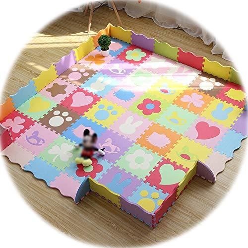 YANGJUN-alfombra puzzle Bebe Antideslizante Anti Caída Encantador Animal Coche Espesar, 1,4 Cm De Espesor (Color : A, Size : 30x30x1.4cm)