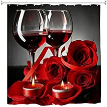 Goodbath 36 x 72 Inch Shower Curtain Stall, Red Wine Glass Cups Rose Romantic Lovers Wateproof Polyest Bath Curtain for Ba...