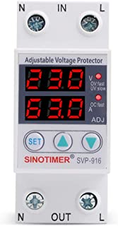 Studyset Under Voltage Relay,220V Intelligent Adjustable Over and Under Voltage Limit Current Protector Relay Reset Protector 63A