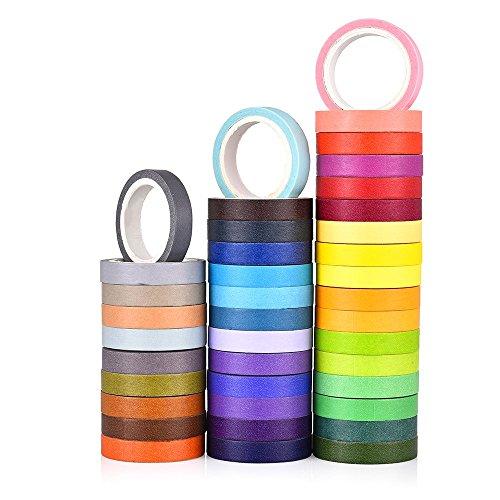40 Rolls Washi Tape Set,Rainbow Sticker Decorative Masking Tape for DIY Crafts, Bullet Journals,Planners