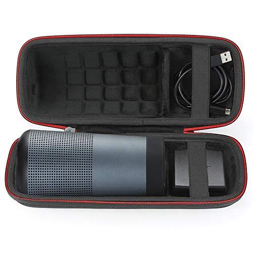 Estuche rígido Bolsa de Almacenamiento de Transporte para el Altavoz Bluetooth Bose SoundLink Revolve. Se Adapta al Cable USB y al Cargador de Pared - Negro (Forro Negro)