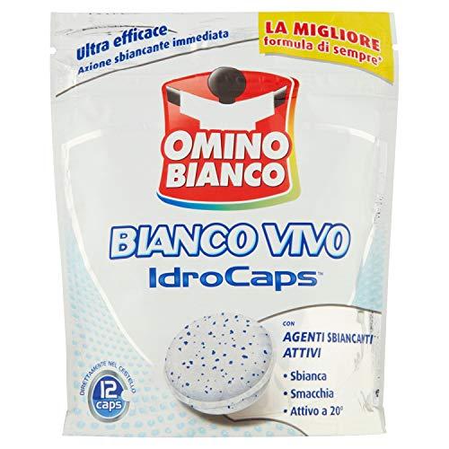 Omino Bianco - Additivo Lavatrice Bianco Vivo Idrocaps, Capsule Idrosolubili per Bucato, Azione Sbiancate e Smacchiante, 1 Confezione x 12 Caps
