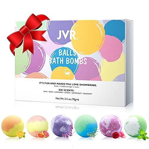 Badebomben Geschenkset, 6er JVR Handgefertigte Badekugeln, für Hautpflege & Entspannung, Schaumbad Bombe mit Natürliche ätherische Ölen, Perfekte für Valentinstag, Geburtstag, Weihnachts Geschenke