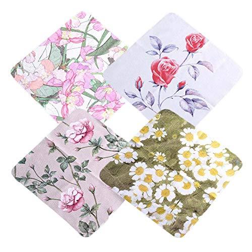4 piezas flores gamuza anteojos paño de limpieza de microfibra paño de limpieza para teléfonos móviles
