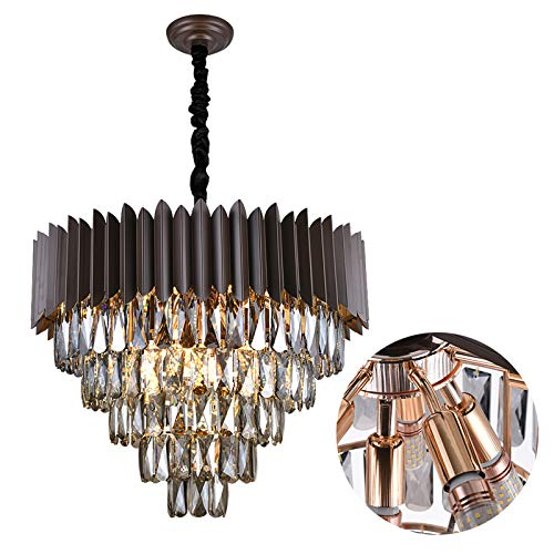 A AXILIXI 12 Lights 5-Tiers K9 Crystal Chandelier, H18'' X W24'' Modern Round Living Room Chandeliers, Adjustable Ceiling Lighting Fixture Pendant Lamp for Dinning Room, Living Room, Bedroom, Hotel