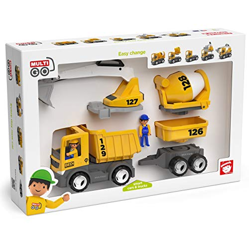 Multigo Baustellen Set 4in1 LKW mit Anhänger Figur Betonmischer Kipper Bagger mit austauschbaren Aufbauten