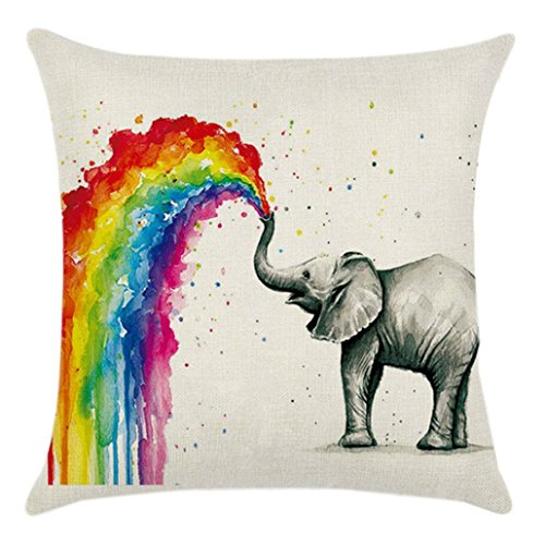 Chinget Bunt Elefant Gedruckt Kissenbezüge Kissen Abdeckung Leinen Kissenbezug Platz Wurf Kissenbezug, 43 x 43 cm