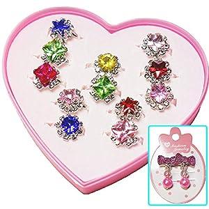 【良品企画】子供 指輪セット おもちゃ 女の子 宝石 フリーサイズ 混合色 リボン型 イヤリング付き RK-102