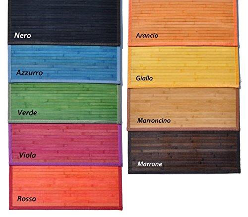 CASA TESSILE bambù Liscio Tappeto passatoia cm 60x200 - Azzurro