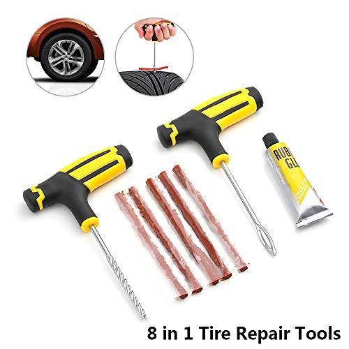 CHDHALTD 8Pcs Tire Repair Tools Car Tire Repair Tool Tire Repair Kit Studding Tool Car Accessories Repair Plug Kit for Car, Bike, UTV, ATV, Wheelbarrow