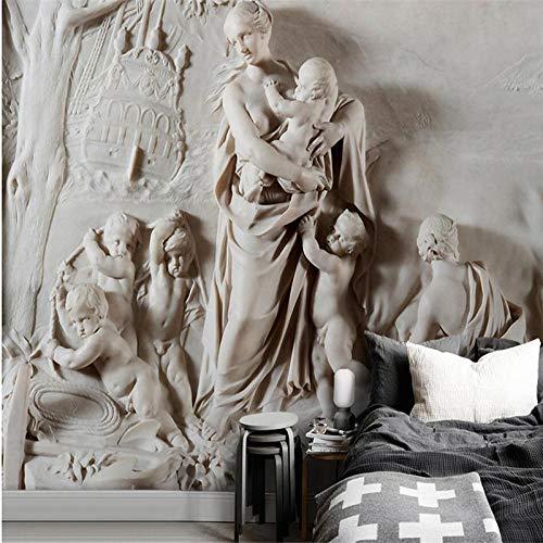 3D relieve Virgen María fondo pared pintura mural grande papel tapiz verde papel tapiz a habitación-120 * 84 pulgadas
