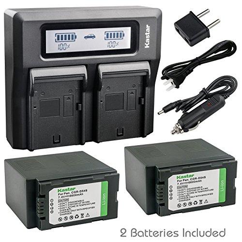 Kastar Fast Dual LCD Charger + 2X Battery for Panasonic CGA-D54 VW-VBD55 and AG-DVX102 AG-HPX170 AG-HPX250 AG-HPX255 AG-HVX200 AJ-PCS060G NV-MX5 NV-MX350 NV-MX500 NV-MX1000 NV-MX2500 NV-MX5000