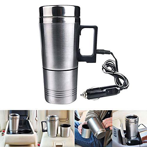 Alexsix Bouilloire Électrique, Bouteille Isotherme chauffante électrique de Voiture, 12 V Tasse à café en Acier inoxydable-300ML